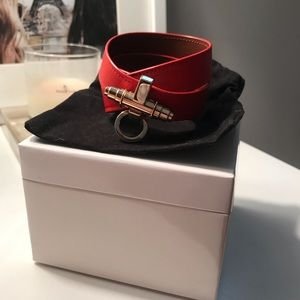 """Givenchy Red Leather """"Obsedia"""" Wrap Bracelet"""